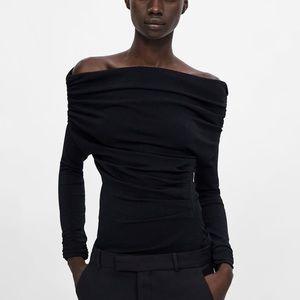 Zara black sweater with ruching